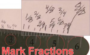 Measuring with a plain ruler and marking fractions